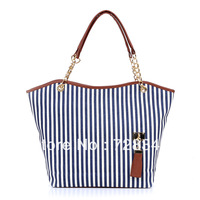 Free shipping 2013 women's fashion handbag chain stripe canvas shoulder bag cartera bolsa