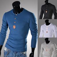 Free shipping Leather male o-neck long-sleeve slim t-shirt M~XXL