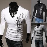 Free shipping Male letter print long-sleeve slim t-shirt M~XXL