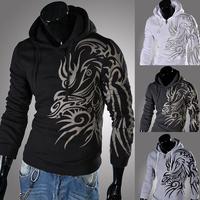 Free shipping Male personality print fashion with a slim hood sweatshirt M~XXL