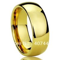 Free Shipping 8MM Tungsten Comfort Fit Ring Yellow Gold Plated High Polished Classy Domed Ring Anniversary/wedding Band