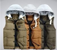 Autumn and winter male down vest cotton detachable cap cotton vest cotton vest waistcoat men's clothing vest