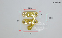 High-grade imitation gold lock horns hook fastener tin box gift box wooden crafts accessories 2051b buckle