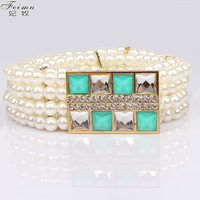 Feimu plaid rhinestone elastic pearl women's belt sweet elastic cummerbund skirt belly chain wide strap