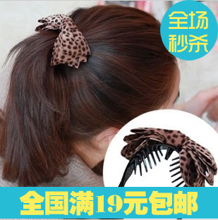Accessories hair bands hair accessory hair accessory fabric leopard print bow gripper twist clip banana clip hair clips