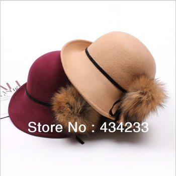 2013 women winter Fashion British royal luxury raccoon fur winter wool ball cap hat bucket hats