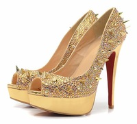 Designer red bottom high heels women's platforms pumps rhinestone rivets shoe woman crystal wedding shoes
