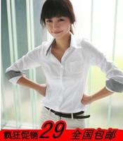 Spring plus size all-match long-sleeve plaid shirt work wear casual slim female shirt