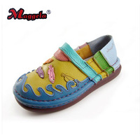 First layer of cowhide rainbow shoes low casual comfortable genuine leather platform flat heel shoes handmade
