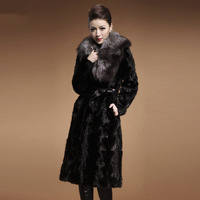 2013 winter mink fur female long design fight mink marten overcoat Women  coat jacket