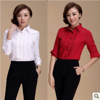 Photos Korean OL commuter career -sleeved long-sleeved chiffon shirt white large size blouses