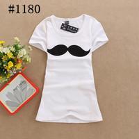 Free Shipping 26 STYLE  new t shirt mustache100% cotton o-neck short-sleeve T-shirt