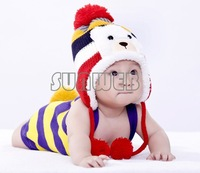 Colorful Stripe Pattern Cartoon Bear Design Thicken Crochet Kids Winter Caps Baby Warm Hats 18569