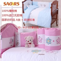 Small baby bedding 100% cotton kit combed cotton piece set bed around quilt piates bed sheets unpick and wash
