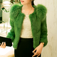Free shipping 2013 new women short design  rabbit fur coat  with Racoon Dog Fur decoration   raccoon dog fur overcoat 21colors