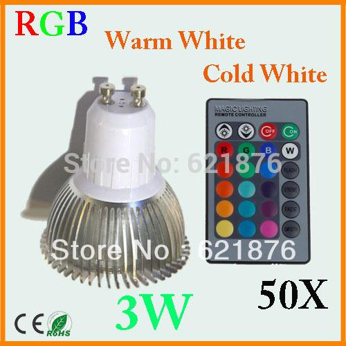 Haute puissance 3w 50pcs/lot gu10 projecteur à led blanc froid blanc chaud rgb led spot en aluminium poli pour la décoration intérieure ac85-265v