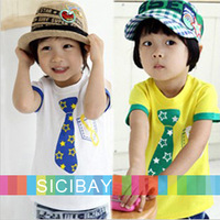 New White & Yellow Tie Tshirts Kids Boy Summer Tops,Short Sleeve Cotton Cool Pullovers,Free Shipping K0199