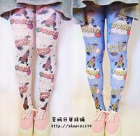 Zipper soft HARAJUKU amo bazookas bom ! letter print silk pantyhose socks