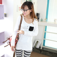 2 autumn women's slim pocket brief basic shirt cotton low collar long-sleeve T-shirt