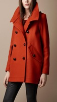 Women's 2013 autumn and winter fashion b stand collar double breasted medium-long wool trench coat outerwear