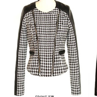 Women's 2013 autumn fashion houndstooth PU patchwork long-sleeve short design zipper jacket outerwear