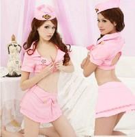 Pink navy ds costume stewardess service sauna work wear