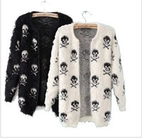 Winter new fashion mohair patterns women pullover skull print cardigan female warm sweater coat knitwear sales and free shipping