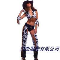 Sexy tassel female denim clothing halloween costume cosplay clothes
