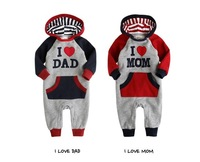 290 Retail free shipping I love dad and I love mom printed baby rompers