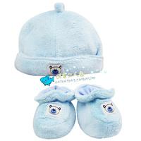 Autumn and winter baby thickening coral fleece tire cap warm hat booties twinset newborn