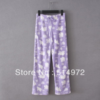 Best Selling!Women's bear coral fleece elastic waist pajama pants Sleep Bottoms free shipping
