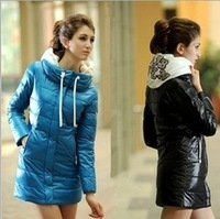2013 Women Winter Coat Winter down parkas Zipper Full Sleeve Thck Solid Pocket Black Women Winter outwear Coat  AWH-00023