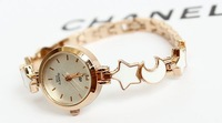 Hot Hot Wholesale Fashion Style Casual Rose Gold Plated Star Moon Bracelet Womens Watches Free Shipping