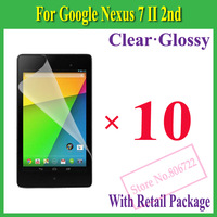 Clear/ Glossy Screen Protector Protection Guard Film For Google Nexus 7 II 2nd,With Package+10pcs/lot
