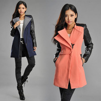Wholesale New Hot Womans Lady Women long warm pu leather sleeve jacket coat parka woolen trench Windbreaker Free shipping