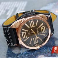 Hot 2013 Watches Men Fashion Pu Leather Luxury brand Big Dial Quartz Wristwatches Free Shipping