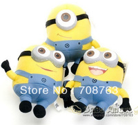 "3pcs /lot Despicable ME Movie Stuffed Plush Toy Soft 18cm 7inch 7"" Minion Jorge Stewart Dave 3D eyes"