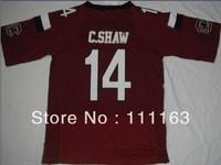 2013 New Style South Carolina Gamecocks C.Shaw #14  College Football Jersey-Garnet,White  Size:48~56+Mix Order,Free Ship