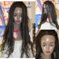 """free shipping  Fully Braided LACE FRONT WIG MICRO Senegalese Twist Color 1b27 curly long 22"""""""