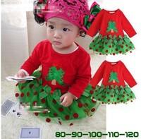 1 piece retail New 2013 Christmas dress for girls summer girls' dresses, short sleeve, cotton dot casual dress Free shipping
