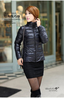 Stand collar missfofo thin candy color motorcycle female short down cotton-padded jacket design