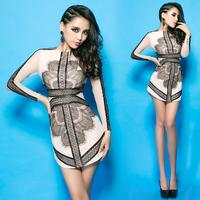 2013 fashion 's charming ladies PU eyelash lace patchwork long-sleeve dress