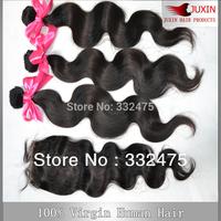 Free shipping 6A Peruvian virgin hair body wave 1 pcs Lace top closure with 3pcs Hair Bundle extension 4pcs/lot