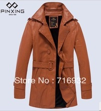 Wholesale New arrival hot sale fashion Hitz Slim winter men's collar warm long leather coat male trench coat(China (Mainland))