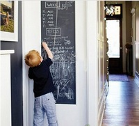 PVC Chalkboard Wall Stickers Removable Blackboard 45CMx200CM with 5 Chalks Free Shipping