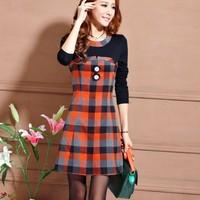 2013 autumn one-piece dress female ol elegant slim plaid long-sleeve basic skirt