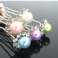 Z015 hair accessory  gentlewomen u shaped clamp pearl hair maker flower  hair stick hairpin hair accessory