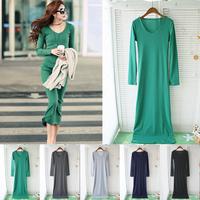 2013 autumn and winter basic all-match cotton thread slim hip long sleeve length skirt sexy one-piece dress