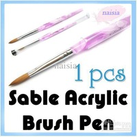 [AE426] Freeshipping-size 8 Professional Sable Acrylic Nail Art Brushes Pen Nail Brushes Wholesales