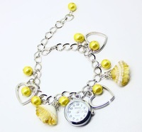 Hot Free shipping wholesale dropship 2013 new hot sale different colors seashell beads bracelet watch ladies fashion